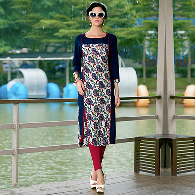 Blue Cotton Crape Printed Designer Kurti
