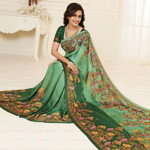 Engrossing Green Colored Casual Wear Printed Crepe Satin Saree