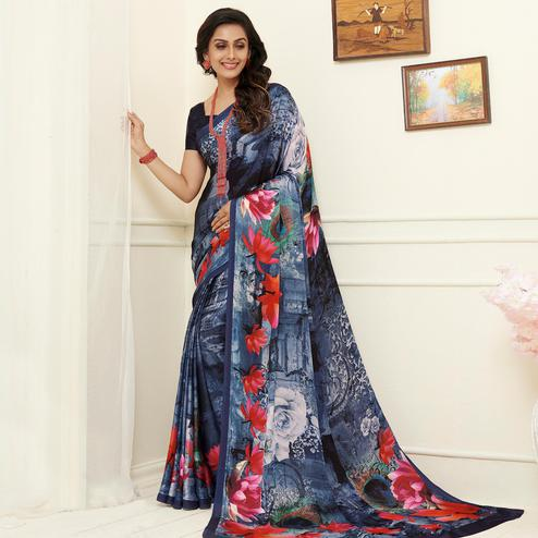 Amazing Blue Colored Casual Wear Printed Georgette Saree