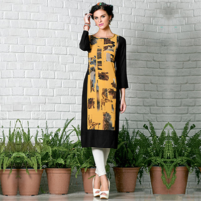 Black & Yellow Cotton Crape Printed Designer Kurti