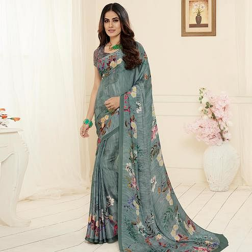 Ideal Grey Colored Casual Wear Printed Georgette Saree