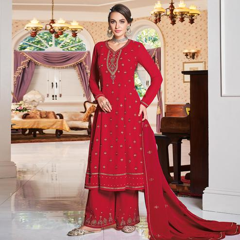 Impressive Red Colored Partywear Embroidered Heavy Georgette Palazzo Suit