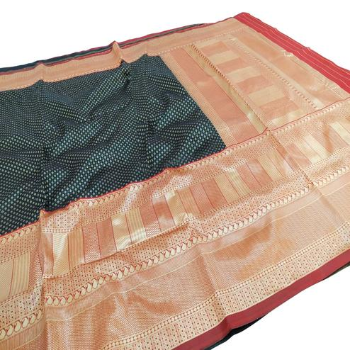 Intricate Teal Blue Colored Fetive Wear Woven Heavy Banarasi Silk Saree