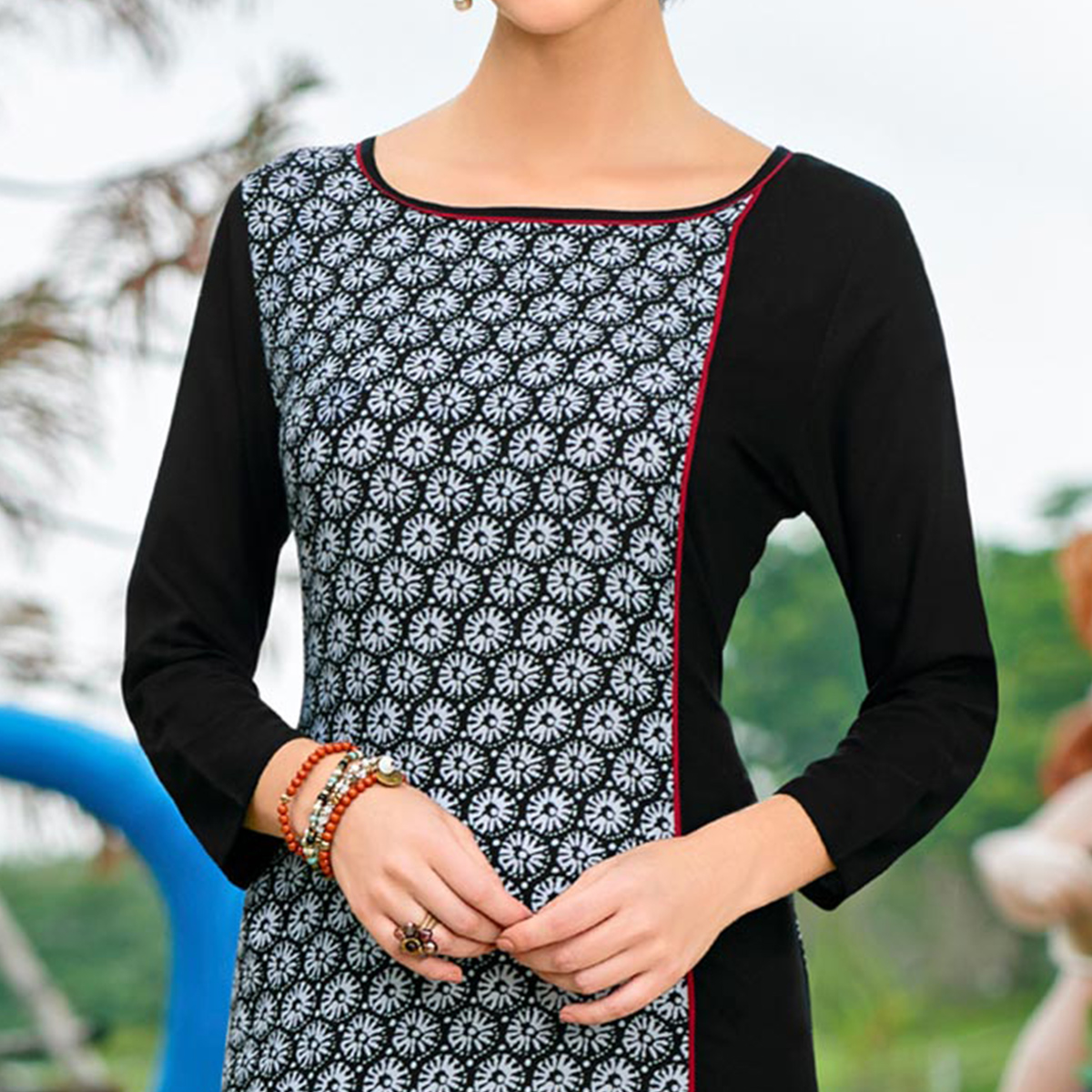Black Cotton Crape Printed Designer Kurti
