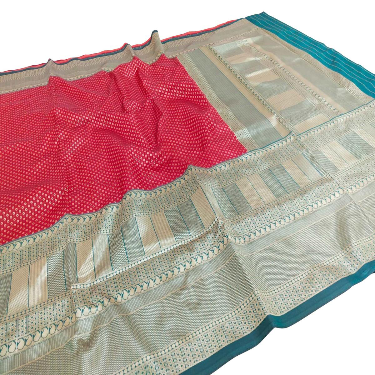 Exotic Red Colored Fetive Wear Woven Heavy Banarasi Silk Saree