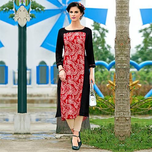 Red Cotton Crape Printed Designer Kurti
