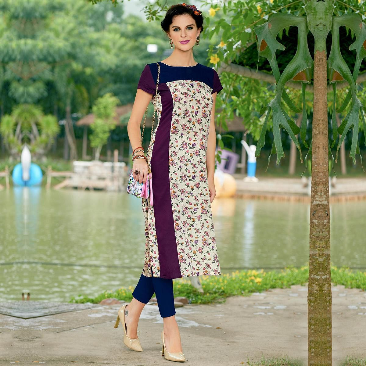 Off White Cotton Crape Printed Designer Kurti