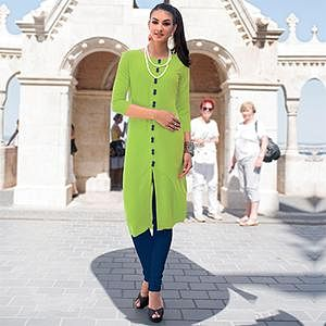 Green Linen Cotton Designer Kurti