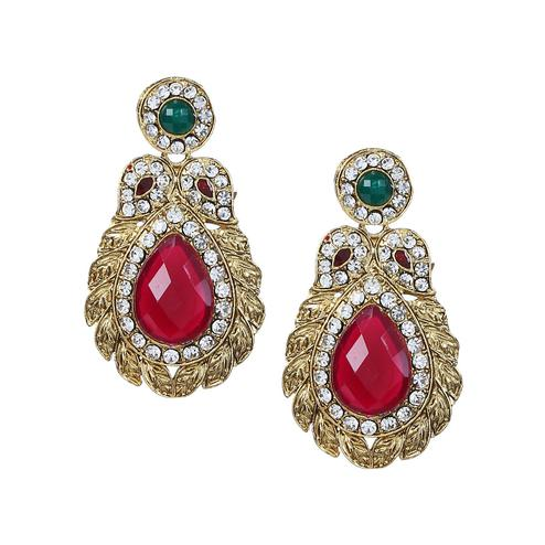Aujjessa - Gold Plated Drop Earring with Red Stone