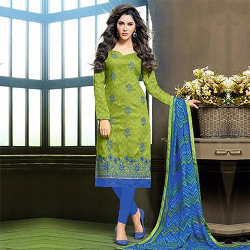 Green Unstitched Salwar Suit