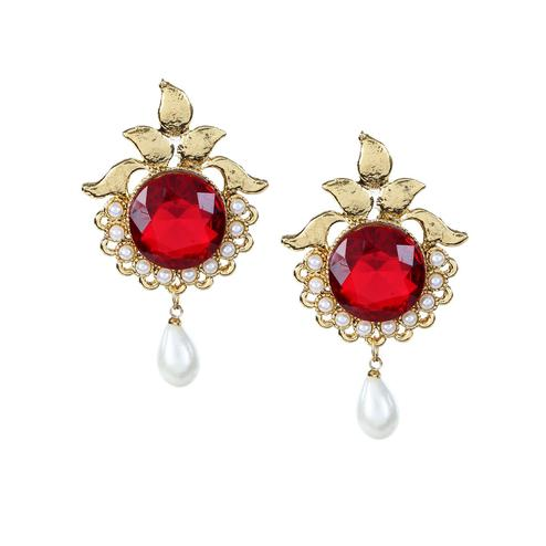 Aujjessa - Gold Plated Drop Earring with Maroon & Green Stone