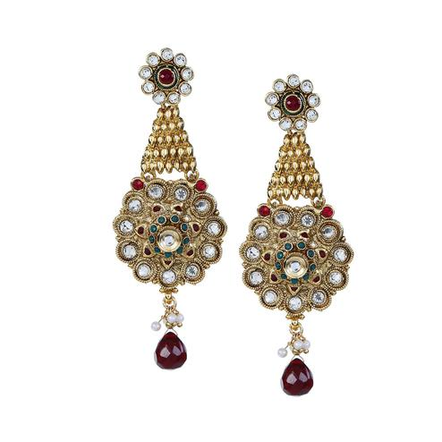 Aujjessa - Gold Plated Drop Earring with Maroon Stone