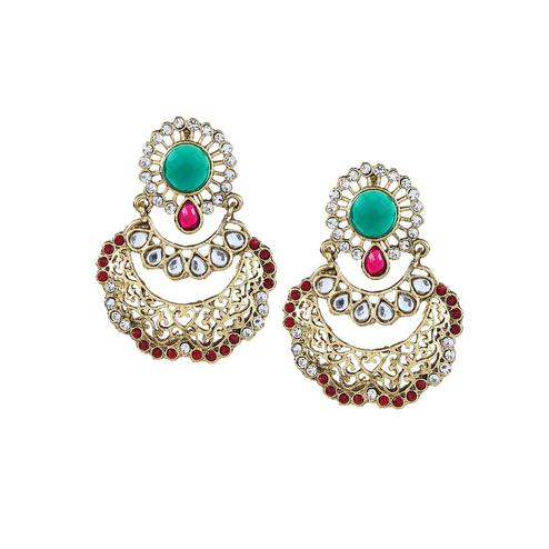 Aujjessa - Gold Plated Drop Earring with Green Stone
