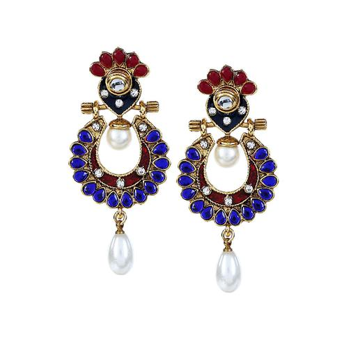 Aujjessa - Blue Gold Plated Drop Earring with Pearl