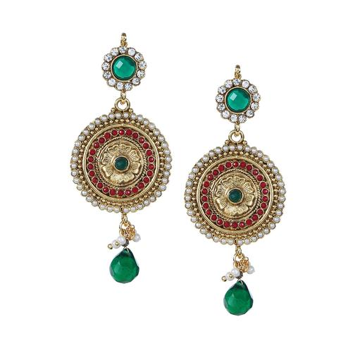 Aujjessa - Gold Plated Drop Earring with Emerald Stone