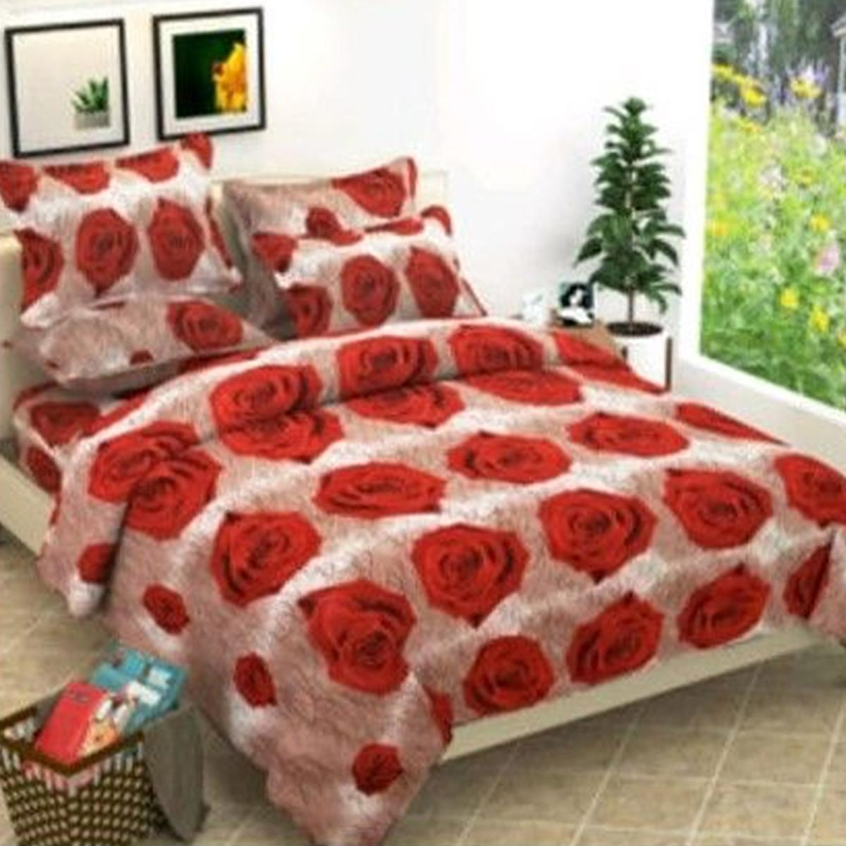 Adirav - Beige-Red Colored 3D Printed Single Cotton Bedsheet With 2 Pillow Cover