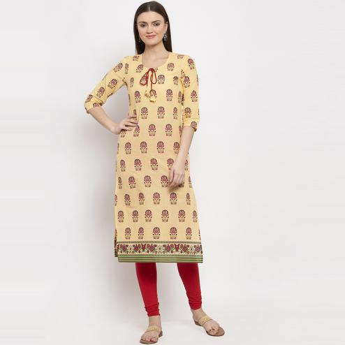 Aujjessa - Yellow Colored Casual Wear Ethnic Motifs Printed Cotton Straight Kurti