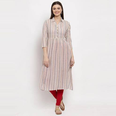 Aujjessa - Peach Colored Casual Wear Striped Printed Cotton Gathered Kurti