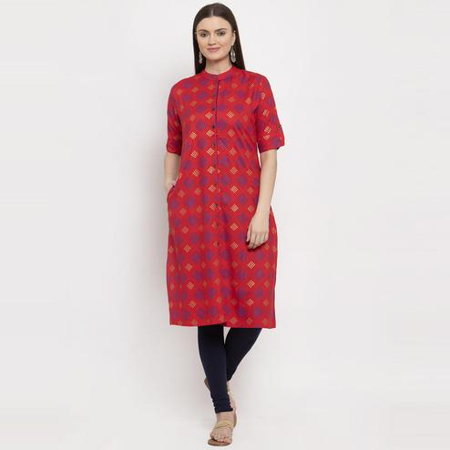 Aujjessa - Red Colored Casual Wear Geometric Printed Viscose Rayon A-Line Kurti