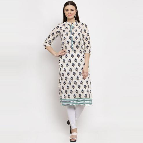Aujjessa - Cream Colored Casual Wear Ethnic Motifs Printed Cotton Straight Kurti