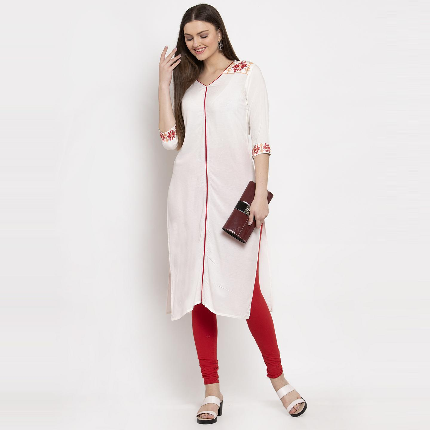 Aujjessa - Cream Colored Casual Wear Embroidered Viscose Rayon Straight Kurti
