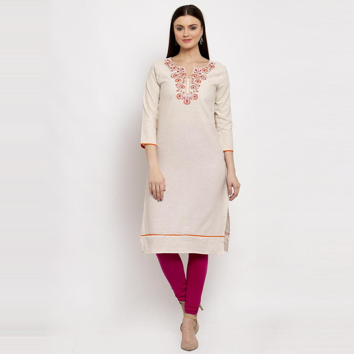 Aujjessa - Off White Colored Floral Embroidered Cotton Straight Kurti