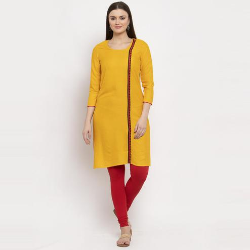 Aujjessa - Mustard Yellow Colored Casual Wear Viscose Rayon Straight Kurti