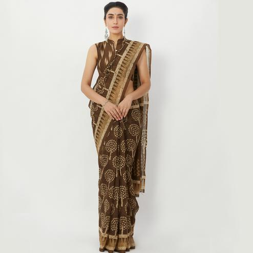 Blissful Brown Colored Casual Wear Floral Printed Linen Silk Saree