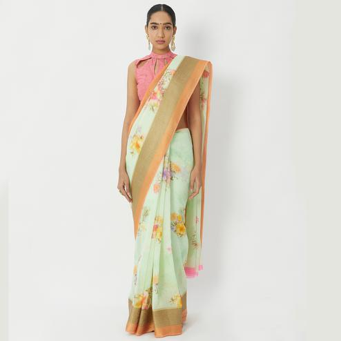 Ideal Green Colored Casual Wear Floral Printed Linen Silk Saree