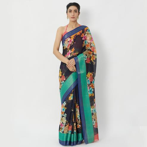 Imposing Black Colored Casual Wear Floral Printed Linen Silk Saree