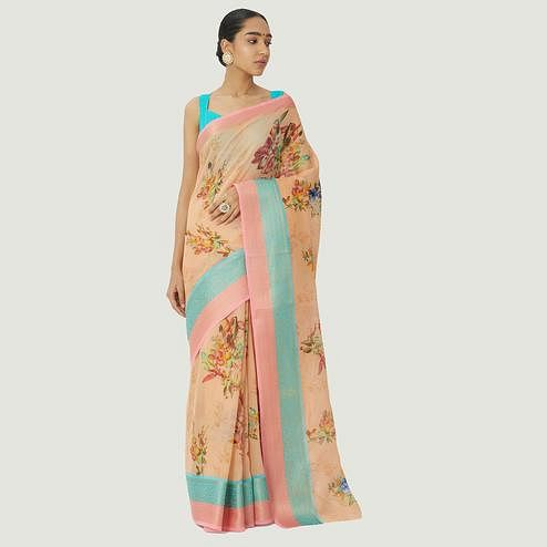 Majesty Peach Colored Casual Wear Floral Printed Linen Silk Saree