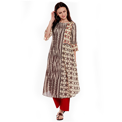 Beige-Brown Printed Cotton Kurti
