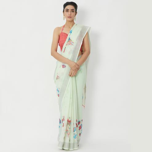 Ethnic Pastel Green Colored Casual Wear Floral Printed Linen Silk Saree