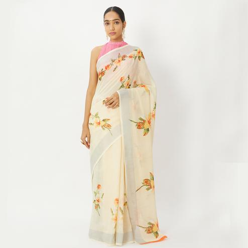 Staring Light Yellow Colored Casual Wear Floral Printed Linen Silk Saree