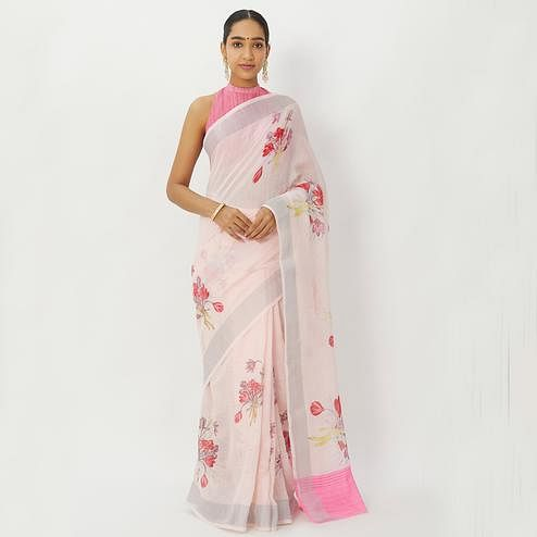 Dazzling Light Pink Colored Casual Wear Floral Printed Linen Silk Saree