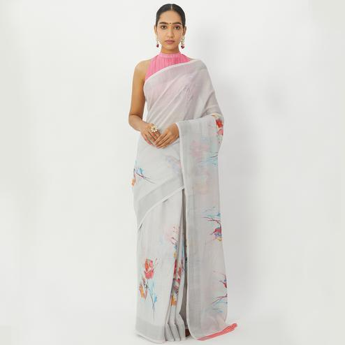 Surpassing Grey Colored Casual Wear Floral Printed Linen Silk Saree