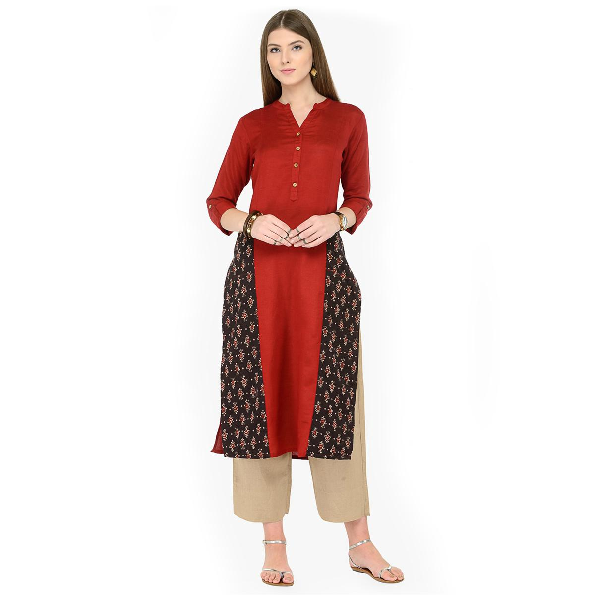 Maroon-Black Printed Cotton Kurti