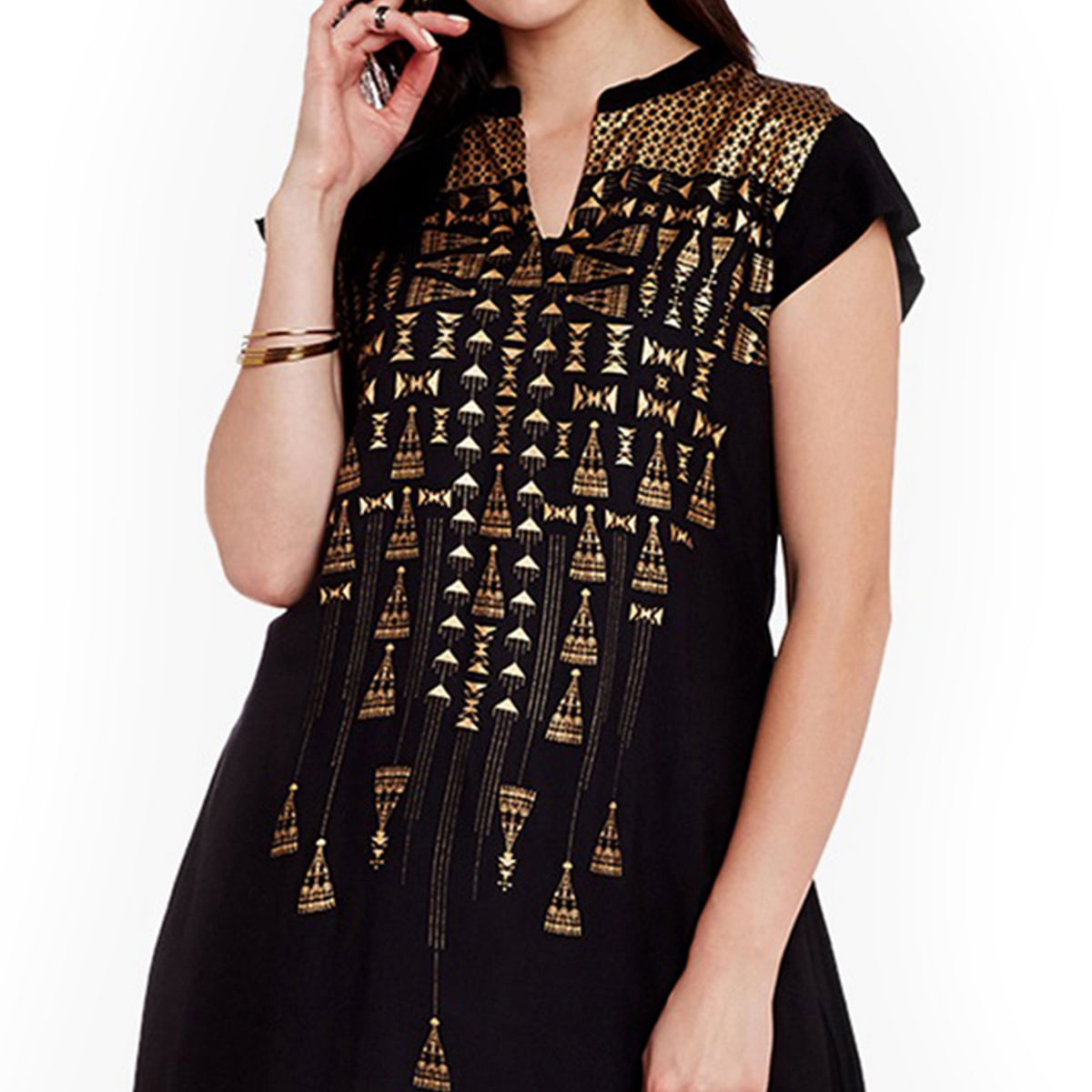 Stunning Black Printed Cotton Kurti
