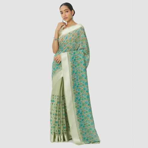 Blissful Green Colored Casual Wear Floral Printed Linen Cotton Half & Half Saree