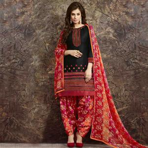 Black - Multicolored Patiala Suit
