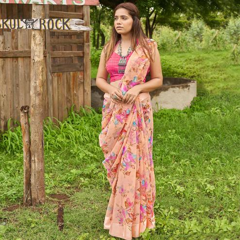 Charming Peach Colored Casual Wear Floral Printed Linen Cotton Saree