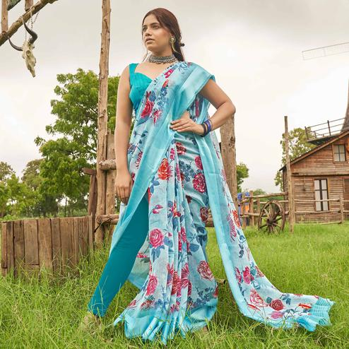 Jazzy Blue Colored Casual Wear Floral Printed Linen Cotton Saree
