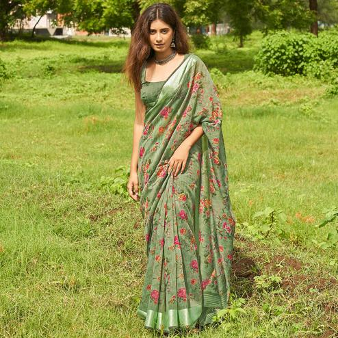Delightful Green Colored Casual Wear Floral Printed Linen Cotton Saree