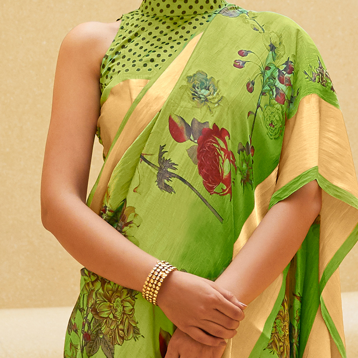 Flattering Green Colored Casual Wear Floral Printed Art Silk Saree