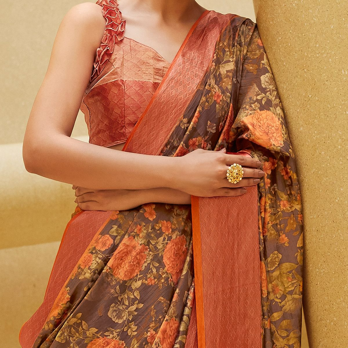 Excellent Brown Colored Casual Wear Floral Printed Art Silk Saree