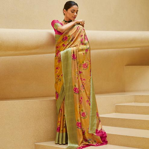 Preferable Beige Colored Casual Wear Floral Printed Art Silk Saree