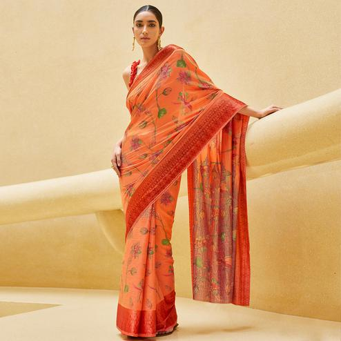 Marvellous Peach Colored Casual Wear Floral Printed Art Silk Saree