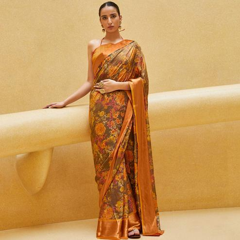 Pretty Brown Colored Casual Wear Floral Printed Art Silk Saree