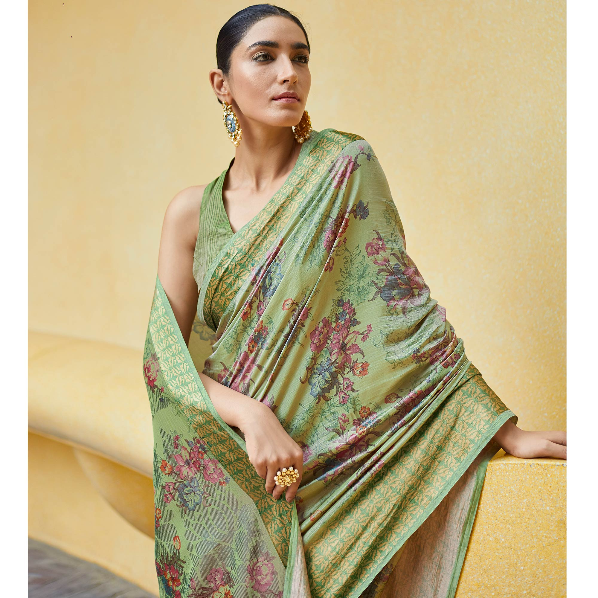 Imposing Green Colored Casual Wear Floral Printed Art Silk Saree
