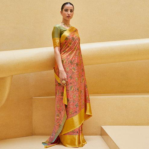Lovely Peach Colored Casual Wear Floral Printed Art Silk Saree